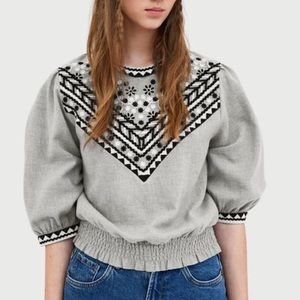 Zara • Grey Black Embroidered Boho Peasant Top